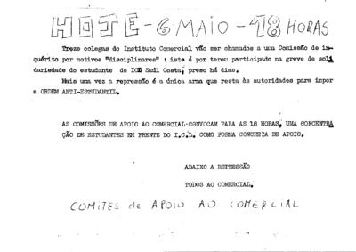 Convocação de concentração de estudantes do Instituto Comercial de Lisboa