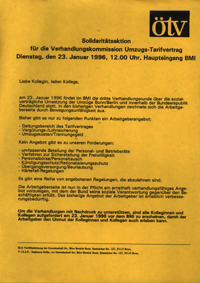 Solidaritätsaktion für die Verhandlungskommission Umzugs-Tarifvertrag