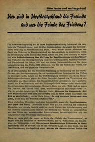 Wer sind in Westdeutschland die Freunde und wer die Feinde des Friedens?