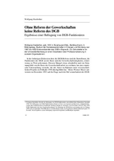 Ohne Reform der Gewerkschaften keine Reform des DGB