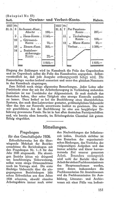 Fragebogen für das Geschäftsjahr 1926