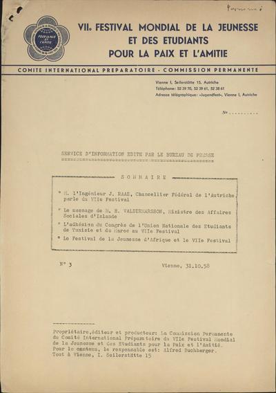 Service d information edite par le Bureau de Presse