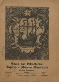 Anais das bibliotecas, arquivo e museus municipais