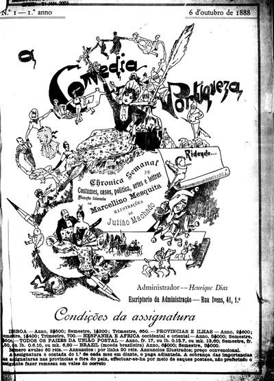A comedia portugueza: chronica semanal de costumes, casos, politica, artes e lettras