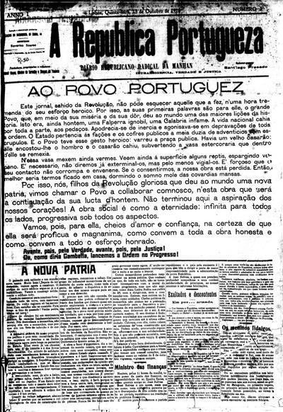 A republica portugueza: diario republicano radical da manhan