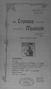 La cronaca musicale : piccola rivista di musica (1909:1)