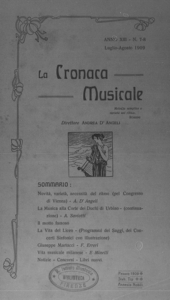 La cronaca musicale : piccola rivista di musica (1909:7-8)