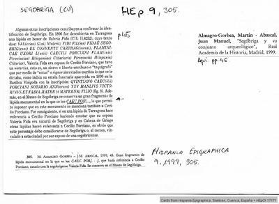 Inscripción hallada en Segobriga
