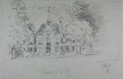 Tekening van Huize 't Joppe bij Gorssel, 1915. Rechtsonder staat een schetsje van het Wapenschild van Hövel van Westerflier.