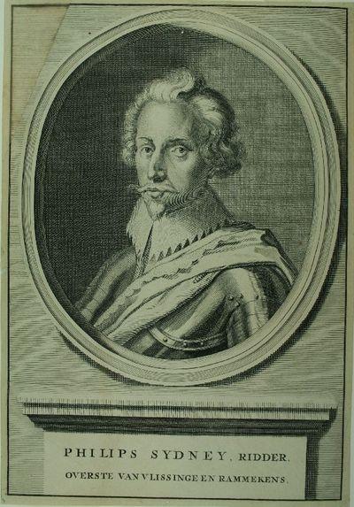 Gegraveerd portret in omlijst ovaal voorstellend Sir Philip Sidney (1554-1586) afgebeeld als gouveneur van Vlissingen. Zonder adres, uit circa 1675-1699.