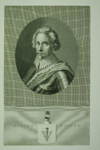 Gravure met portret voorstellend Filips Sidney, naam afgedrukt aan weerszijden van het wapen.