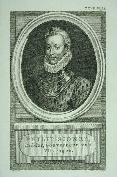 Kopergravure met ovaal portret voorstellend Sir Philip Sidney (1554-1586). Ridder, Gouveneur van Vlissingen.