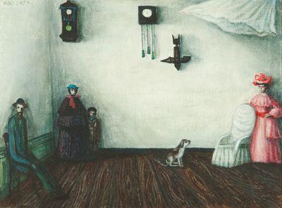 Een schilderij getiteld Mensen in witte ruimte, 1983.