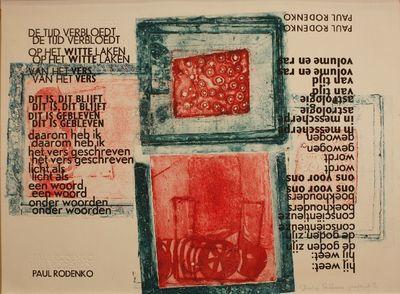 Tarotprent door André Kerkhoven proefdruk 1/1, met gedicht van Paul Rodenko 'De tijd verbloedt'.
