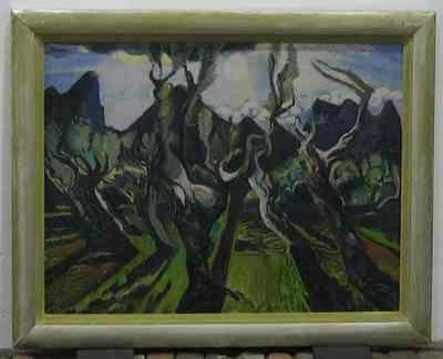 Een schilderij getiteld 'Les Alpilles bij Arles', 1954. In houten lijst.