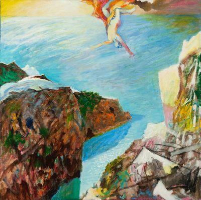 Een schilderij getiteld 'De val van Icarus', 1999. In lijst.