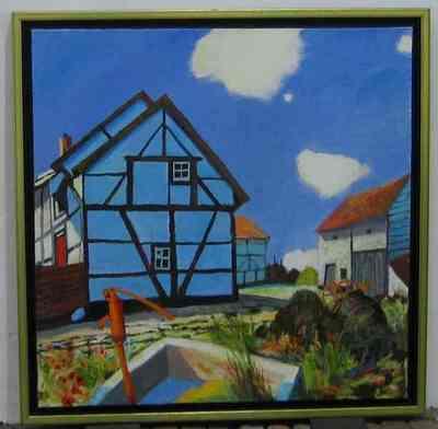 Een schilderij getiteld 'Vakwerk', 1998. In lijst.