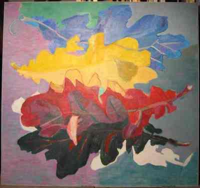 Olieverfschilderij uit 1997 met als voorstelling, eikenbladeren in blauw, geel, rood, bruin en wit, horizontaal afgebeeld over de breedte van het schilderij.