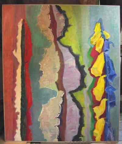 Olieverfschilderij uit 1998 met links en in het midden, afbeelding van een cactus, rechts afbeelding van een digitalisbloem.