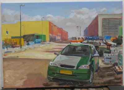 Een olieverfschilderij op doek uit 1999: getiteld Halfgroene auto.