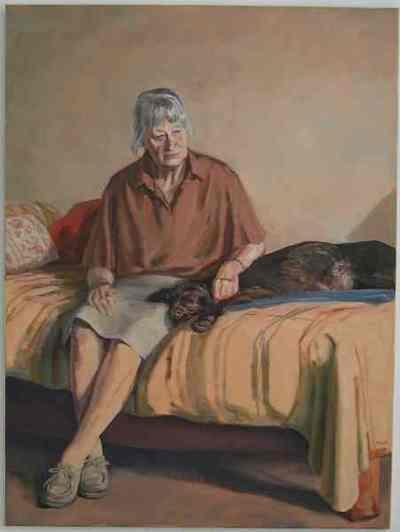 Een geschilderd portret uit 1996 van Liesbeth Wezelaar -Dobbelman (1917-2003).