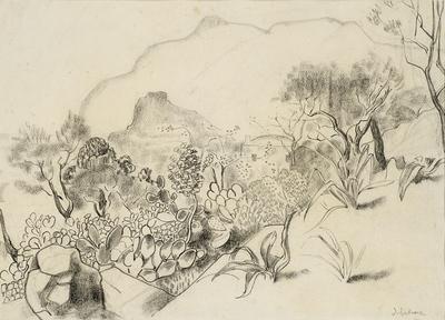 Een tekening van Marokkaans landschap, 1961.
