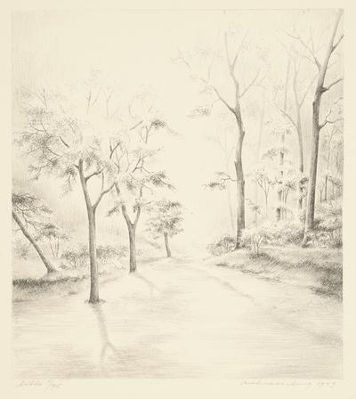 Een litho getiteld 'April, mei, huni', 1949.