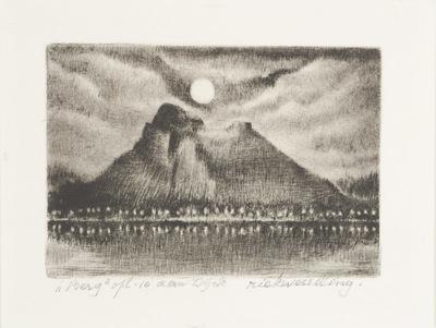 Een naaldgravure getiteld ,,Berg opl. 10 aan Dijck.
