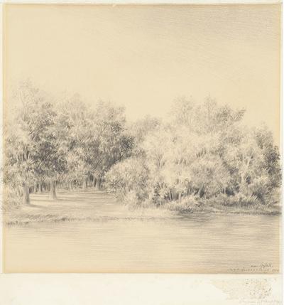 Een tekening getiteld 'Landschap bij Büg', 1954.