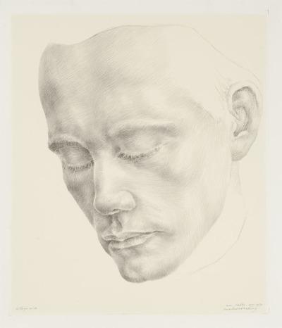Een litho naar een tekening uit 1962 getiteld 'Portret van een beeldhouwer'.