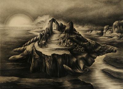 Een tekening getiteld 'Laatste eiland', 1964.