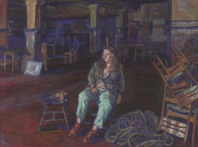 Een schilderij getiteld 'Biljartzaal (III)', 1997.