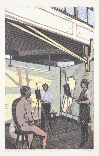 Een houtsnede uit 1994 getiteld 'Atelier II', 16/50. Afbeelding van kunstenaarsatelier.
