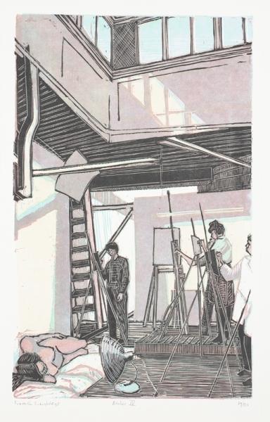 Een houtsnede uit 1994 getiteld 'Atelier III', 19/50. Afbeelding van kunstenaarsatelier.
