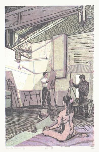Een houtsnede uit 1995 getiteld 'Atelier IV', 29/50. Afbeelding van kunstenaarsatelier.