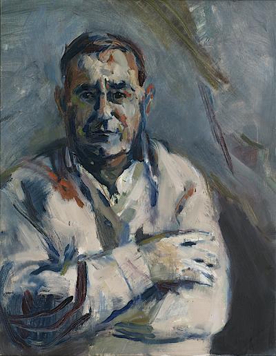 Olieverf op doek. Portret van een Cyprioot ten halve lijve, 1986. Deze man kijkt de beschouwer recht aan en heeft de armen over elkaar heen geslagen. Norbert Olthuis heeft de Cyprioot met intense penseelstreken in hoofdzakelijk blauw- en grijstinten direct op het doek geschilderd. Hij heeft zijn model niet mooier of lelijker gemaakt dan hij was. De beschouwer heeft bijna het gevoel oog in oog te staan met de Cyprioot.