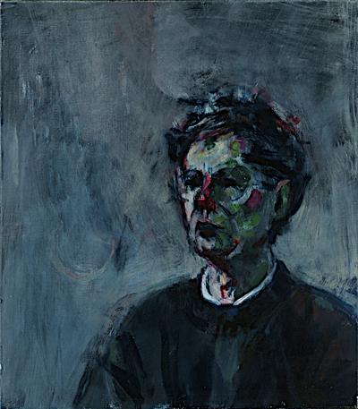Een geschilderd portret van de filosoof Henk Veldkamp, 1990.