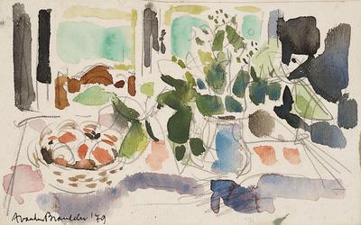 Een aquarel van een stilleven met fruit en bloemen, 1979.