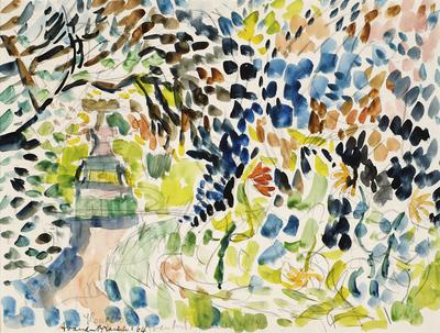Een aquarel getiteld 'Tuin met huisje', 1964.