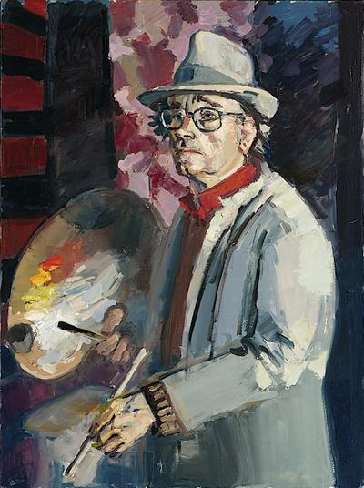 Een geschilderd zelfportret van Henk Pander, 2003.