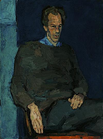 Een geschilderd portret uit 1962 van Willem den Ouden. Op het portret heeft Henk Pander zijn vroegere docent en vriend zittend op een eenvoudige houten stoel geschilderd. De pose van Willem den Ouden is ongekunsteld. Hij is alledaags gekleed in trui met boothals en kijkt met priemende blik voor zich uit. Henk Pander heeft het portret monumentaal opgezet en hier en daar met forse penseelstreken geschilderd. Het is daardoor een stoer portret geworden. De lange gestalte van Den Ouden wordt versterkt door de donkere achtergrond. De lichtblauwe kleur links van hem accentueert de lichtval.