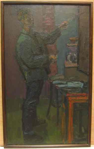Een geschilderd zelfportret uit 1961 van Henk Pander. In een houten lijst.