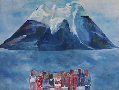 Een schilderij getiteld 'Toeristen bij berg', circa 1988.