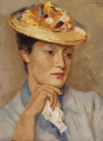 Een schilderij getiteld 'Dame met hoed', 1945.