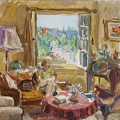 Een schilderij getiteld 'Interieur, Minervalaan', 1945-1946. In goudkleurige houten lijst.