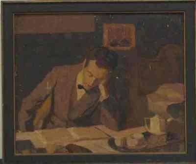 Een geschilderd portret van Fik Abbing (1901-1955). In houten lijst.