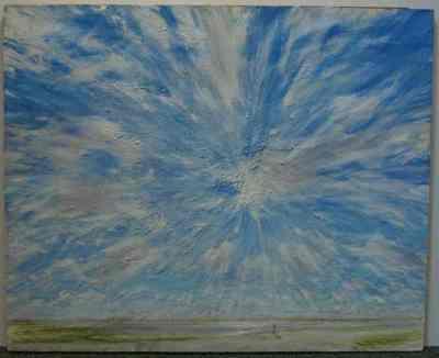 Een schilderij getiteld 'Boven de Waal, plein-air studie'.