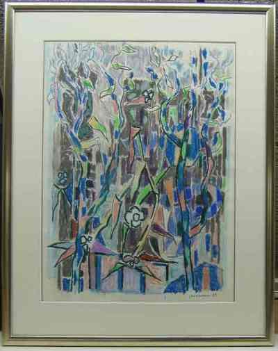 Pastel en gouache op papier 'Zonder titel', 1985.