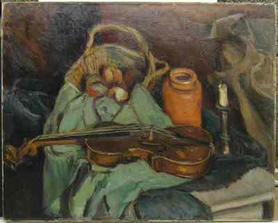 Een stilleven met viool.