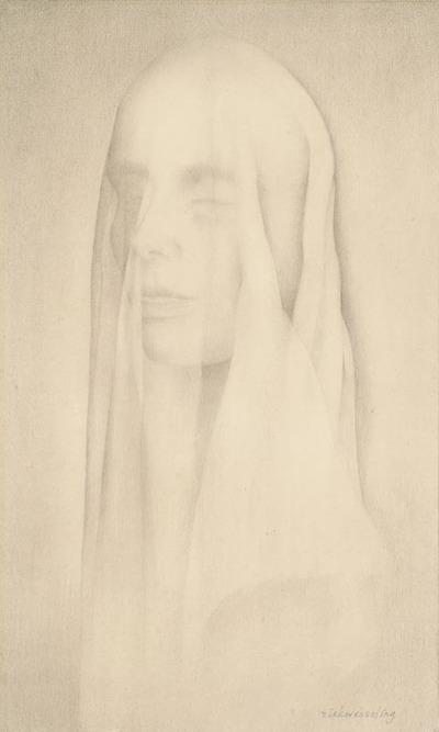 Een tekening getiteld 'Vrouw met sluier', voor 1940.